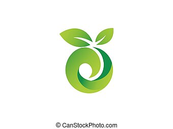 green leaf ecology abstract vector logo
