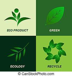 Green leaf ecology icon set