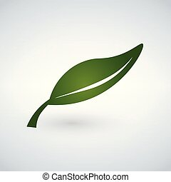 Green Leaf flat Icon. Vector illustration isolated on white background.