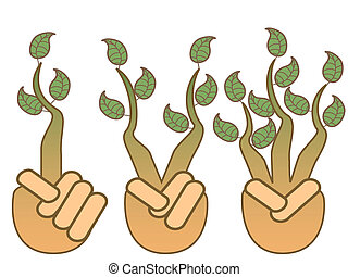 green leaf growing from hands