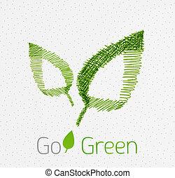 Green leaf hand drawn concept