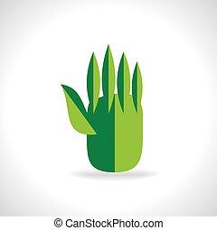 green leaf hand