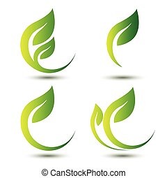 green leaf icon eco concept leaves
