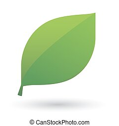 Green leaf icon - Illustration of an isolated green leaf...