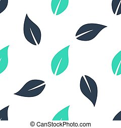 Green Leaf icon isolated seamless pattern on white background.  Vector