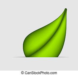 Green leaf icon. Vector illustration