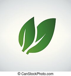 Green Leaf icon, vector illustration isolated on white background.