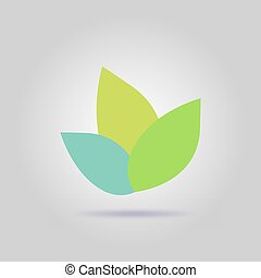 Green Leaf Icon Vector Illustrations with soft shadow