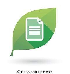 Green leaf icon with a document