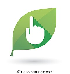 Green leaf icon with a hand