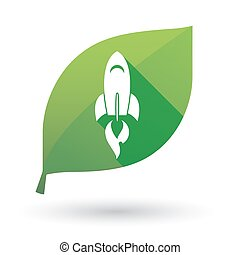 Green leaf icon with a rocket - Illustration of an isolated ...