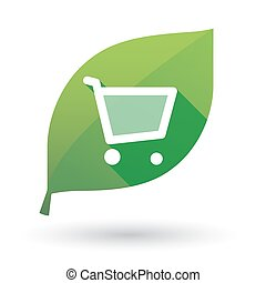 Illustration of an isolated green leaf icon with a shopping cart