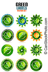 Green leaf labels | eco friendly badges