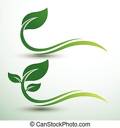 Green leaf labels - Green labels concept with leaves ,vector...