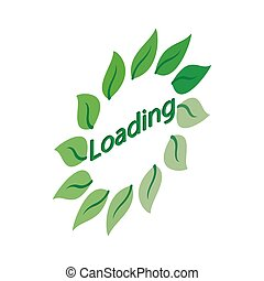 Green leaf loading circle sign icon