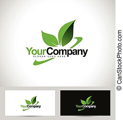 Green leaf logo vector with swash and company name text