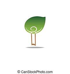 Green leaf man logo