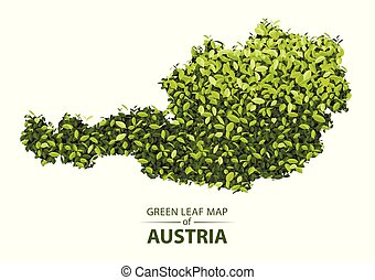 Green leaf map of austria vector illustration of a forest is concept