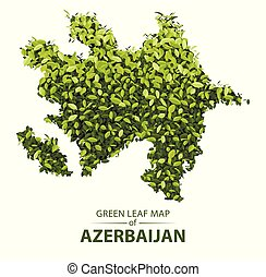 Green leaf map of azerbaijan vector illustration of a forest is concept