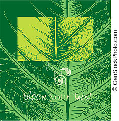 Green leaf of a plant close up. Vector