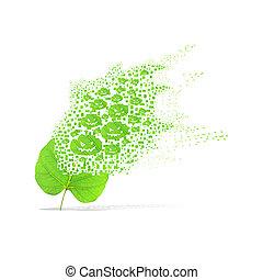 Green leaf of pumpkin on white background