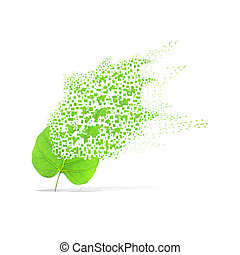 Green leaf of world map on white background