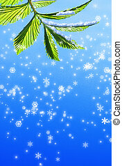 Green leaf on abstract snowflake background