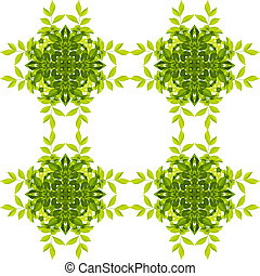 Green leaf pattern isolated on white background. Clipping paths included.