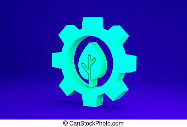 Green Leaf plant ecology in gear machine icon isolated on blue background. Eco friendly technology. World Environment day label. Minimalism concept. 3d illustration 3D render