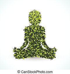 Green leaf shape, Yoga lotus position, vector illustration...