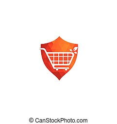 Green leaf shopping cart shield shape concept logo design