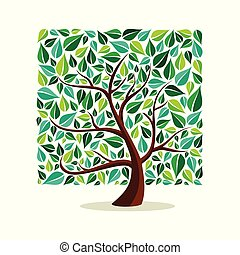 Green leaf square tree concept for nature help