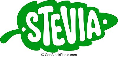 Sticker in shape of green STEVIA leaf. An organic low calorie sweetener. Isolated vector template for packaging healthy natural vegan food, diabetic products. Proper diet, good nutrition.