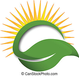 Green leaf sun rays logo - Sun green leaf wellness concept...