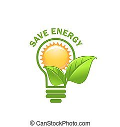 Green leaf sung and lamp save energy vector icon - Save...