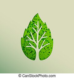 Green leaf tree paper cut for nature concept