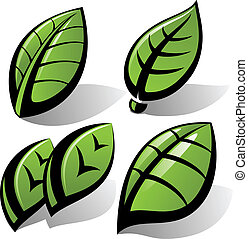 green leaf vector set