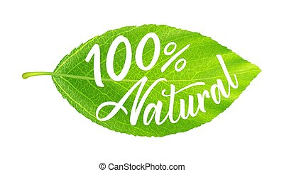 Green leaf with inscription 100 percent natural