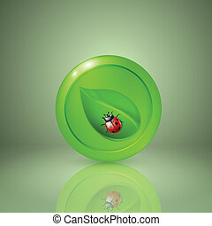 Green leaf with ladybird. Icon for app or web design