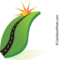 Green leaf with road and sun logo
