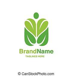 green leaf with shape of human figure logo