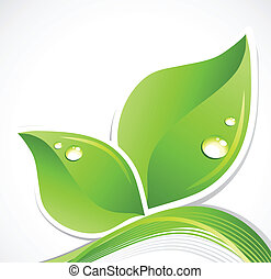 Green leaf with water droplets. Vector art illustration