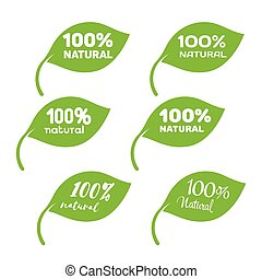 Green leaf with white lettering. 100 percent natural product icons set.
