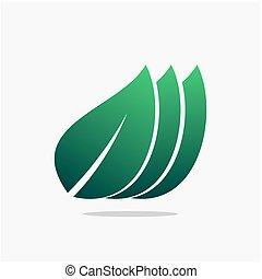 green leafes tree flat design icon logo