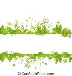 Green Leafs And Grass, Isolated On White Background, Vector...