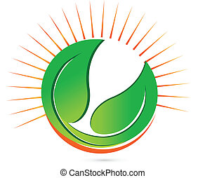 Green leafs and sun vector logo