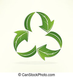 Green leafs arrow recycle logo