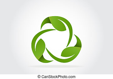 Green leafs recycle symbol logo