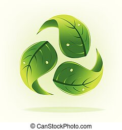 Green leafs with drop water concept of recycle logo