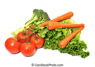 Green leafy lettuce, broccoli, carrots, and tomatoes isolated on white background.